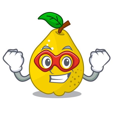 Super hero bunch cartoon of juicy yellow quinces fruits