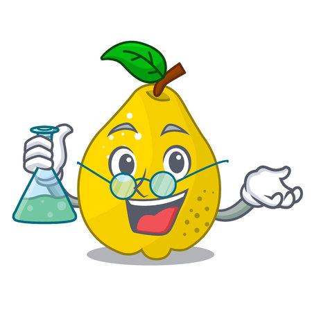 Professor bunch cartoon of juicy yellow quinces fruits vector illustration