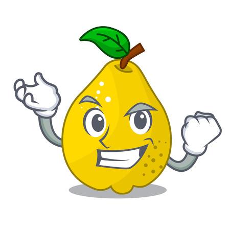 Successful bunch cartoon of juicy yellow quinces fruits vector illustration