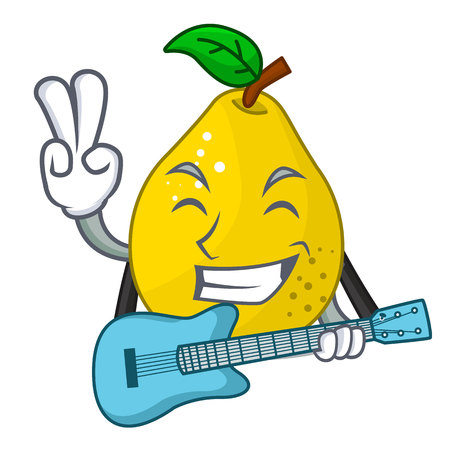 With guitar ripe yellow quince fruit on mascot vector illustration Stock Illustratie