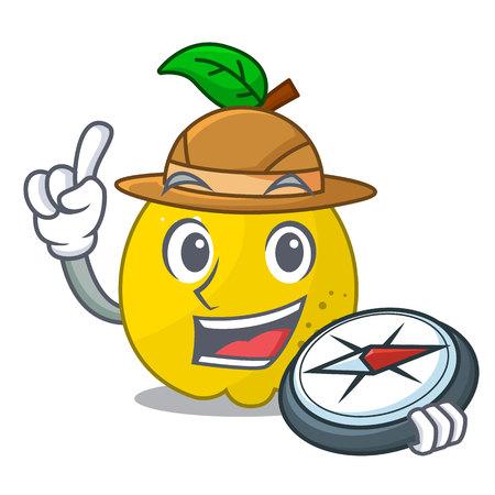Explorer ripe yellow quince fruit on mascot vector illustration