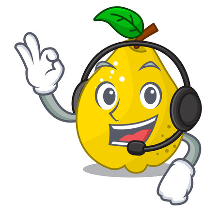 With headphone sweet quince isolated on mascot cartoon vector illustration
