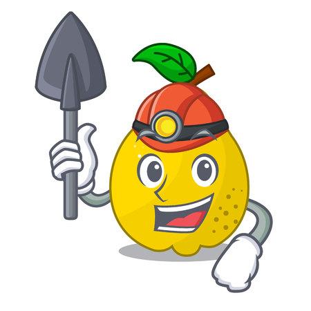 Miner ripe yellow quince fruit on mascot vector illustration Ilustracja