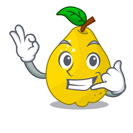 Call me sweet quince isolated on mascot cartoon vector illustration
