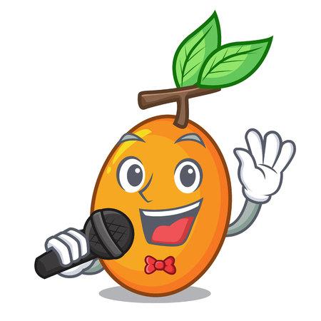 Singing ripe yellow plums on the tree cartoon vector illustration