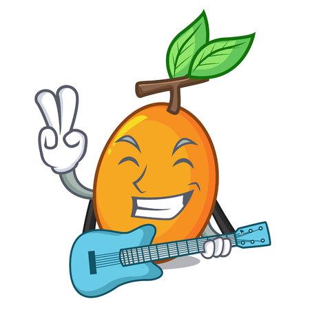 With guitar ripe yellow plums on the tree cartoon vector illustration Stock Illustratie