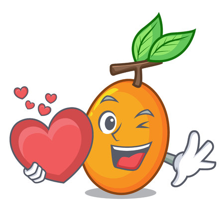 With heart ripe yellow plums on the tree cartoon vector illustration