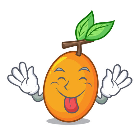Tongue out sweet yellow plum isolated on mascot vector illustration 向量圖像