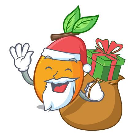 Santa with gift sweet yellow plum isolated on mascot vector illustration