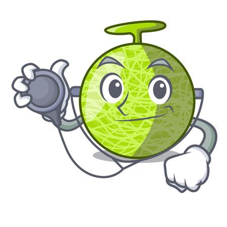 Doctor fresh melon isolated on character cartoon vector illustration