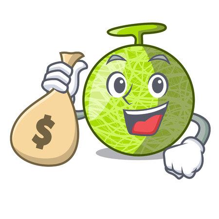 With money bag fresh melon isolated on character cartoon vector illustration 向量圖像
