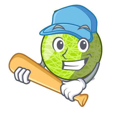 Playing baseball fresh melon isolated on character cartoon vector illustration 向量圖像