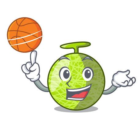 With basketball fresh melon isolated on character cartoon vector illustration