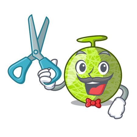 Barber fresh melon isolated on character cartoon vector illustration
