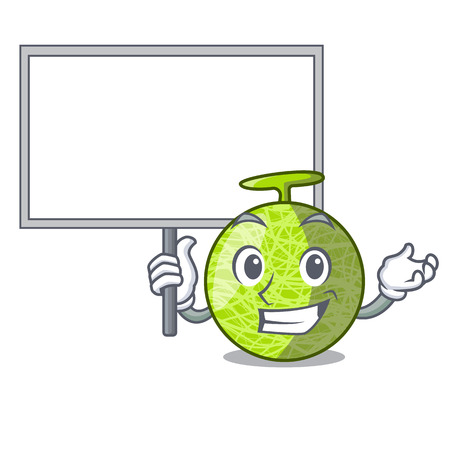 Bring board fresh melon isolated on character cartoon vector illustration