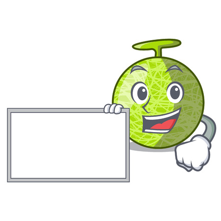 With board fresh melon isolated on character cartoon vector illustration