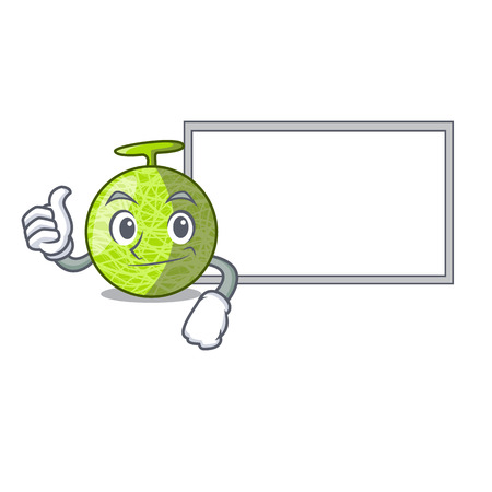 Thumbs up with board fresh melon isolated on character cartoon vector illustration
