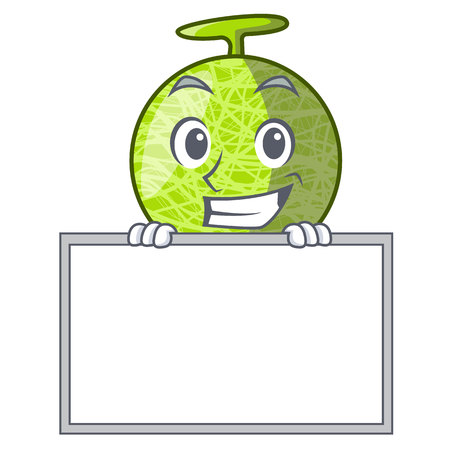Grinning with board fresh melon isolated on character cartoon vector illustration Illustration