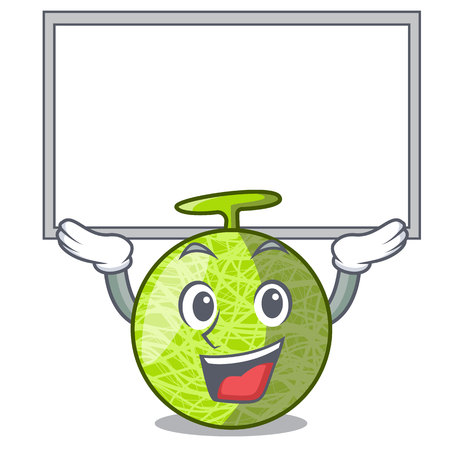 Up board fresh melon isolated on character cartoon vector illustration 向量圖像