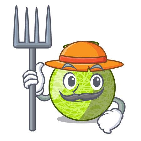 Farmer fresh melon isolated on character cartoon vector illustration
