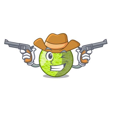 Cowboy fresh melon isolated on character cartoon vector illustration