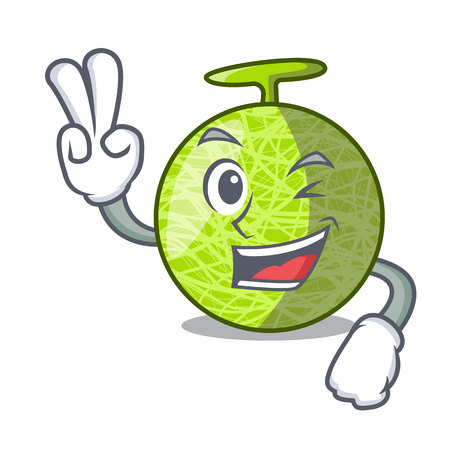 Two finger fresh organic melon in the cartoon vector illustration