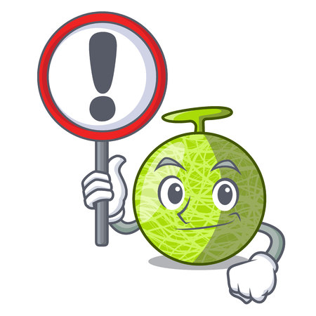 With sign fresh melon isolated on character cartoon vector illustration 向量圖像
