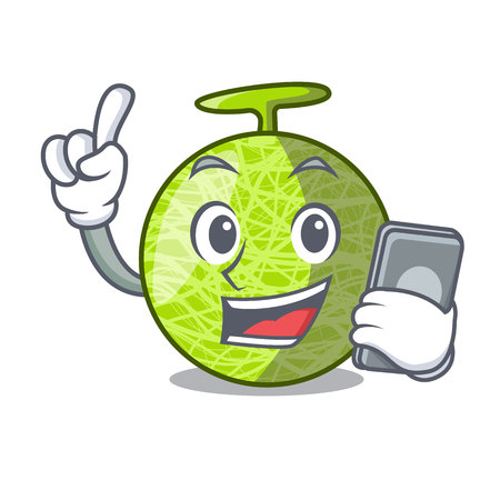 With phone fresh melon isolated on character cartoon vector illustration