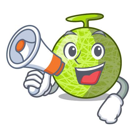 With megaphone fresh melon isolated on character cartoon vector illustration 向量圖像