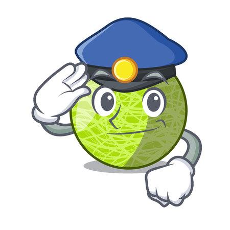 Police fresh melon isolated on character cartoon vector illustration