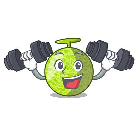 Fitness fresh melon isolated on character cartoon vector illustration