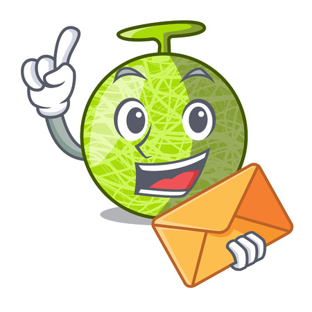 With envelope fresh organic melon in the cartoon vector illustration