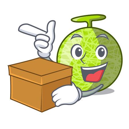 With box fresh organic melon in the cartoon vector illustration