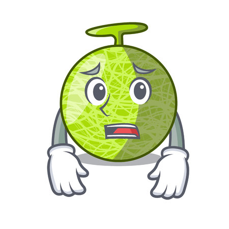Afraid cartoon melon sweet fruit in the market vector illustration