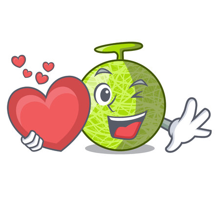 With heart cartoon melon sweet fruit in the market vector illustration Vetores