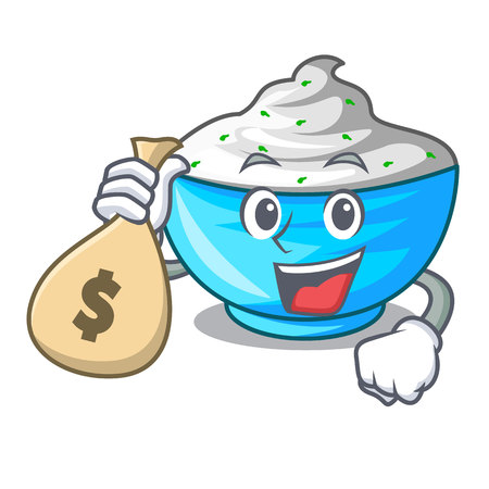 With money bag sour cream in a glass bowl cartoon Illustration