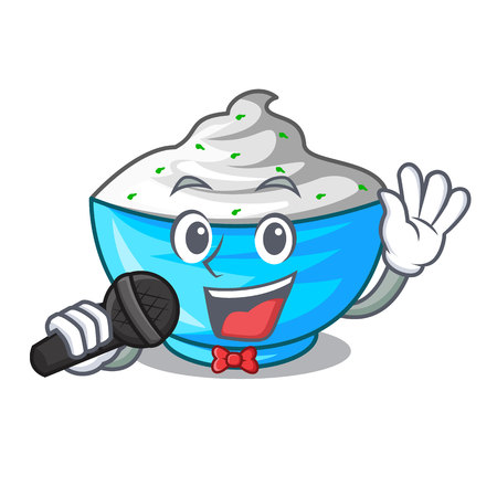 Singing sour cream in a character bowl vector illustration Stock Illustratie