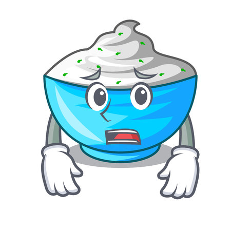 Afraid sour cream in a character bowl vector illustration