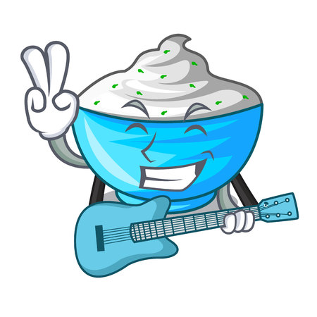 With guitar sour cream in a character bowl vector illustration