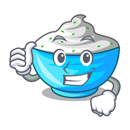 Thumbs up sour cream in a wooden bowl cartoon vector illustration 일러스트