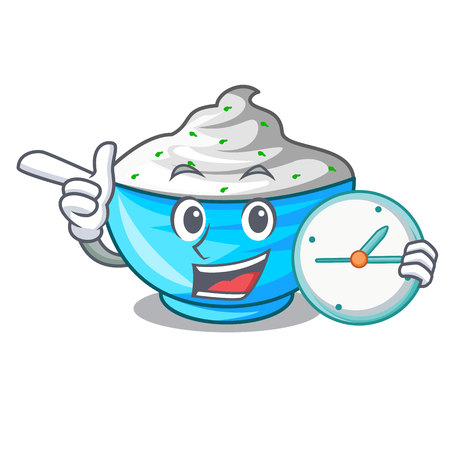 With clock sour cream in a wooden bowl cartoon vector illustration