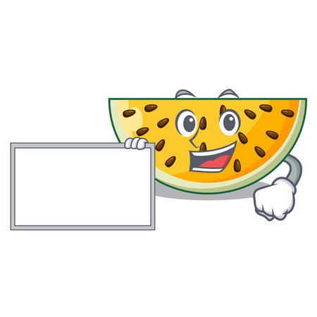 With board fresh yellow watermelon on character cartoon vector illustration