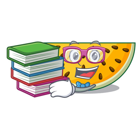 Student with book ripe yellow watermelon isolated on mascot vector illustration