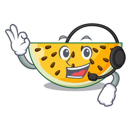 With headphone ripe yellow watermelon isolated on mascot vector illustration