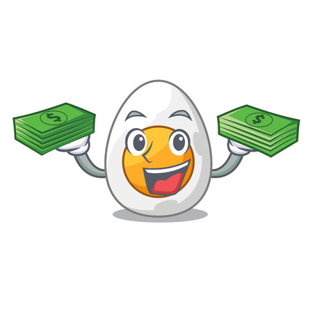With money peeled boiled egg on mascot cartoon vector illustration