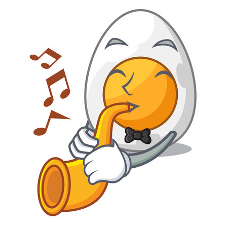With trumpet peeled boiled egg on mascot cartoon vector illustration