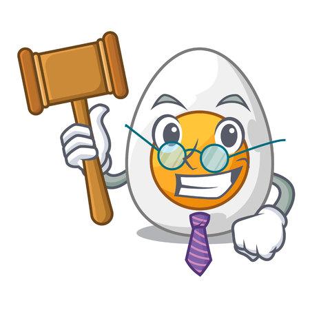 Judge freshly boiled egg isolated on mascot cartoon vector illustration