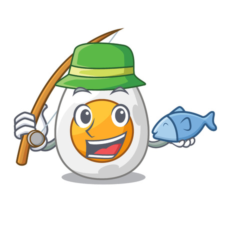 Fishing peeled boiled egg on mascot cartoon vector illustration