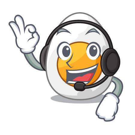 With headphone freshly boiled egg isolated on mascot cartoon vector illustration Illustration