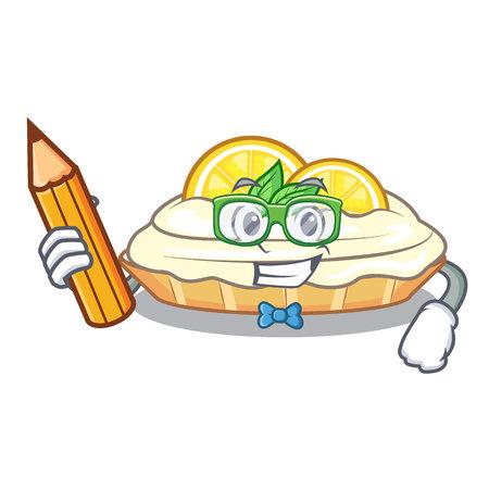 Student cartoon lemon cake with lemon slice vector illustration